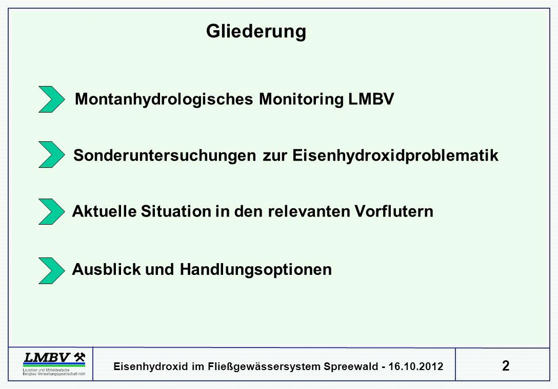 2 Eisenhydroxid im Fließgewässersystem Spreewald - 16.10.2012 Montanhydrologisches Monitoring LMBV Gliederung Sonderuntersuchungen zur Eisenhydroxidproblematik Aktuelle Situation in den relevanten Vorflutern Ausblick und Handlungsoptionen