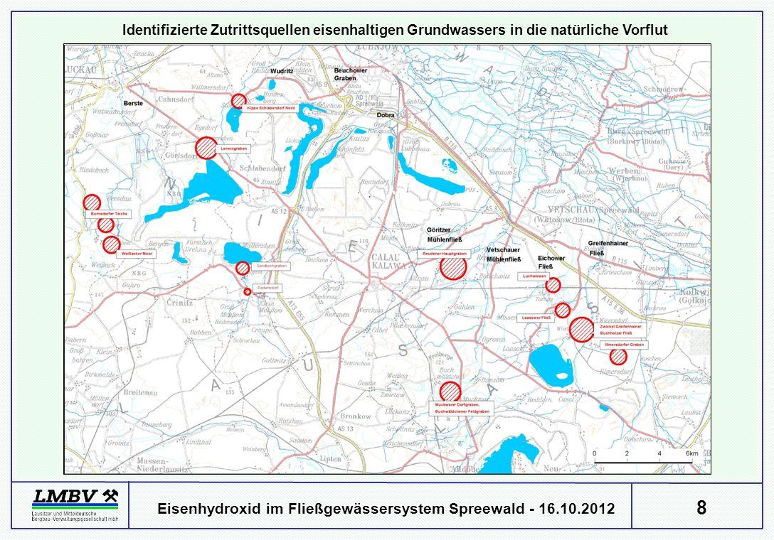 8 Eisenhydroxid im Fließgewässersystem Spreewald - 16.10.2012 Identifizierte Zutrittsquellen eisenhaltigen Grundwassers in die natürliche Vorflut