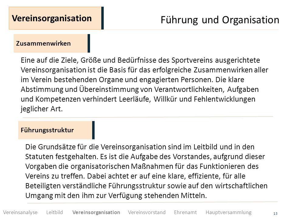 Führung und Organisation 13 Zusammenwirken Vereinsorganisation Eine auf die Ziele, Größe und Bedürfnisse des Sportvereins ausgerichtete Vereinsorganis