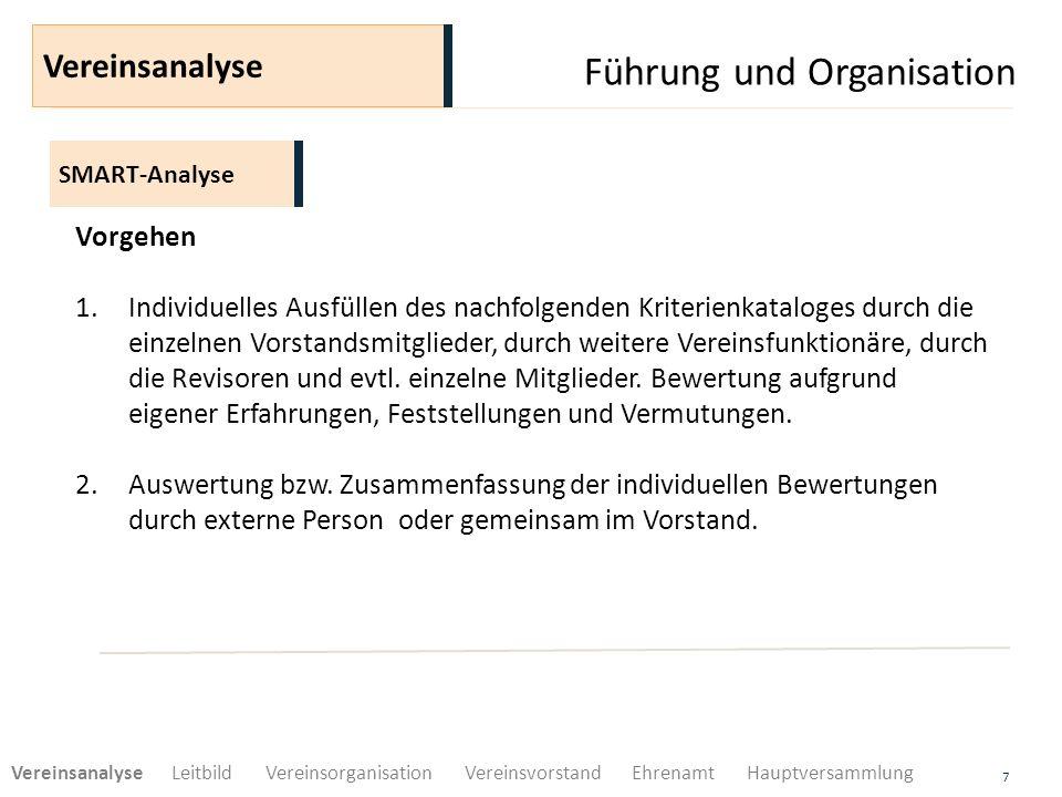 Führung und Organisation 8 SMART-Analyse Vereinsanalyse Vorgehen 3.Diskussion der Auswertung anlässlich einer Vorstandsklausur.