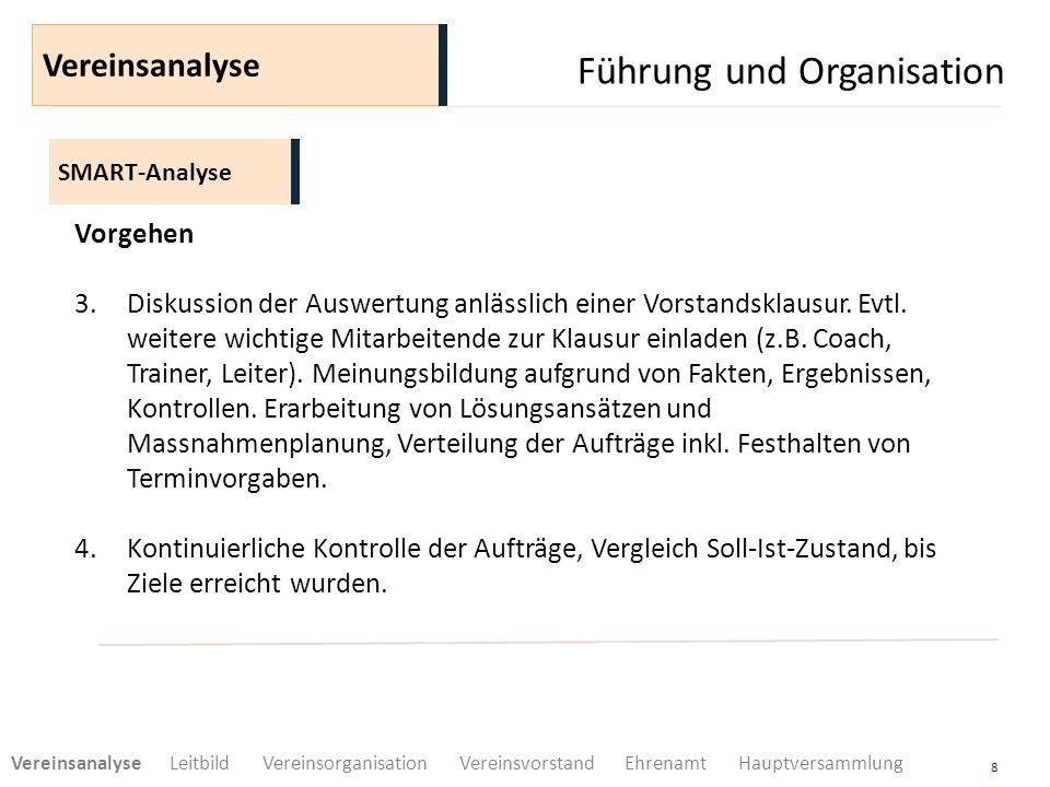 Führung und Organisation 8 SMART-Analyse Vereinsanalyse Vorgehen 3.Diskussion der Auswertung anlässlich einer Vorstandsklausur. Evtl. weitere wichtige