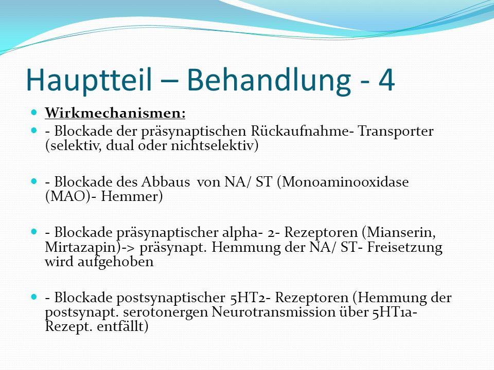Hauptteil – Behandlung - 4 Wirkmechanismen: - Blockade der präsynaptischen Rückaufnahme- Transporter (selektiv, dual oder nichtselektiv) - Blockade de