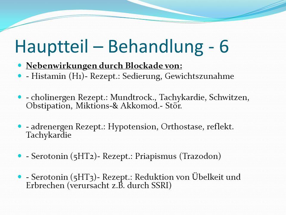 Hauptteil – Behandlung - 6 Nebenwirkungen durch Blockade von: - Histamin (H1)- Rezept.: Sedierung, Gewichtszunahme - cholinergen Rezept.: Mundtrock.,