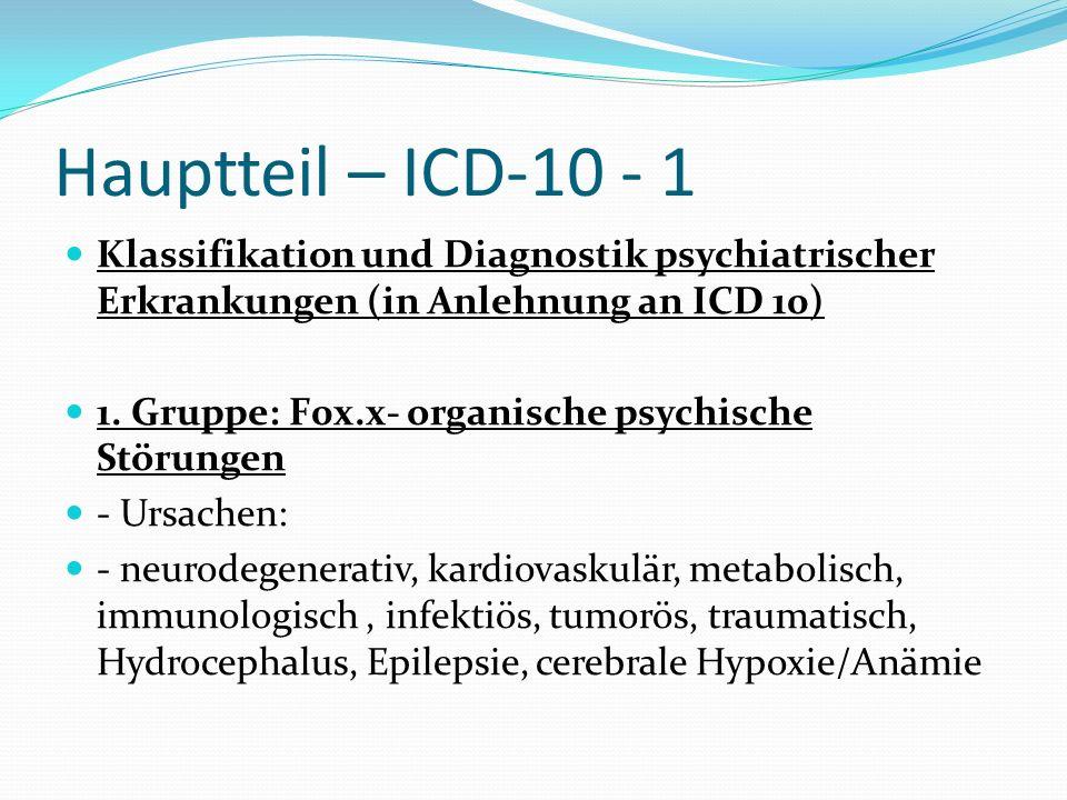 Hauptteil – ICD-10 - 1 Klassifikation und Diagnostik psychiatrischer Erkrankungen (in Anlehnung an ICD 10) 1. Gruppe: F0x.x- organische psychische Stö
