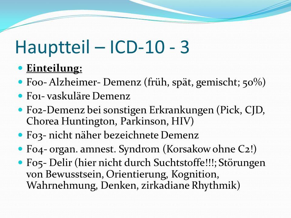 Hauptteil – ICD-10 - 3 Einteilung: Foo- Alzheimer- Demenz (früh, spät, gemischt; 50%) F01- vaskuläre Demenz F02-Demenz bei sonstigen Erkrankungen (Pic
