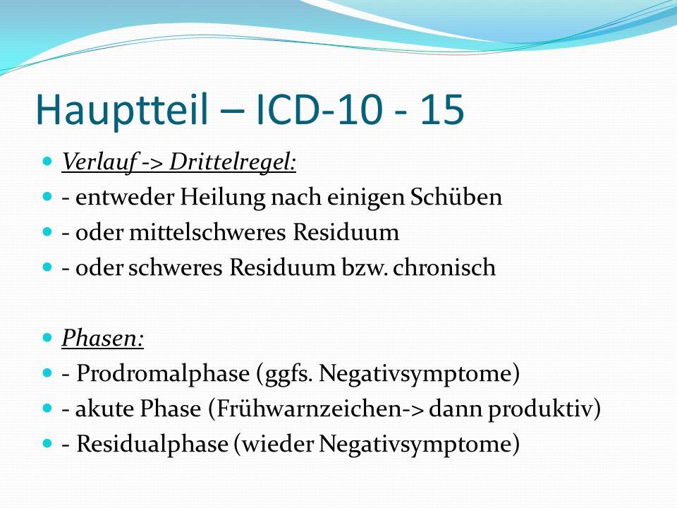 Hauptteil – ICD-10 - 15 Verlauf -> Drittelregel: - entweder Heilung nach einigen Schüben - oder mittelschweres Residuum - oder schweres Residuum bzw.