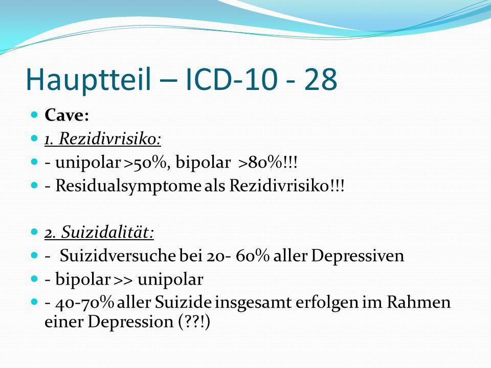Hauptteil – ICD-10 - 28 Cave: 1. Rezidivrisiko: - unipolar >50%, bipolar >80%!!! - Residualsymptome als Rezidivrisiko!!! 2. Suizidalität: - Suizidvers