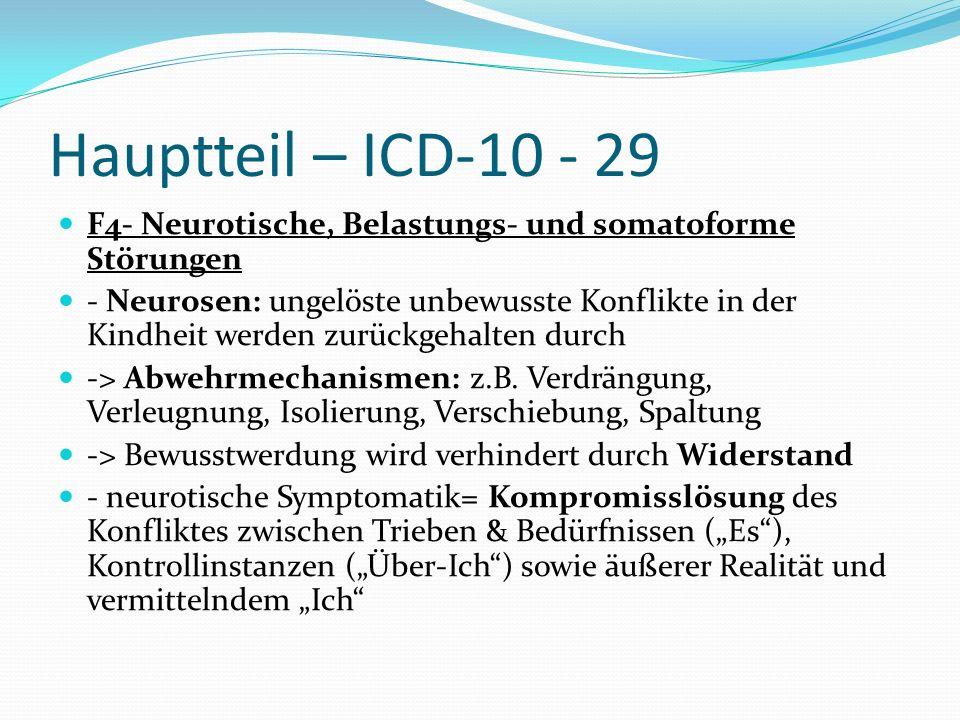 Hauptteil – ICD-10 - 29 F4- Neurotische, Belastungs- und somatoforme Störungen - Neurosen: ungelöste unbewusste Konflikte in der Kindheit werden zurüc