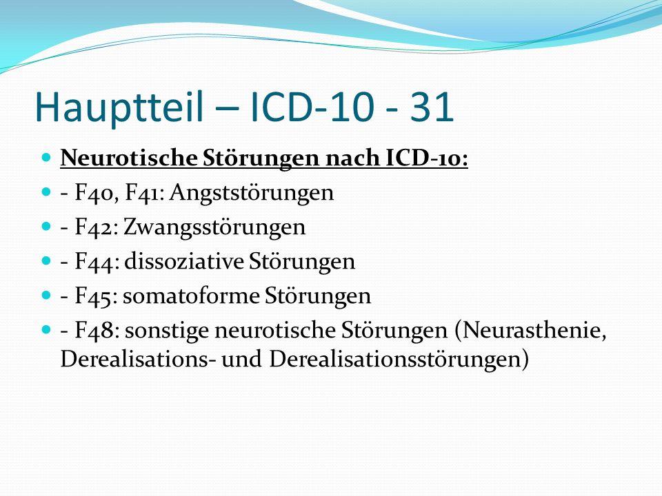 Hauptteil – ICD-10 - 31 Neurotische Störungen nach ICD-10: - F40, F41: Angststörungen - F42: Zwangsstörungen - F44: dissoziative Störungen - F45: soma