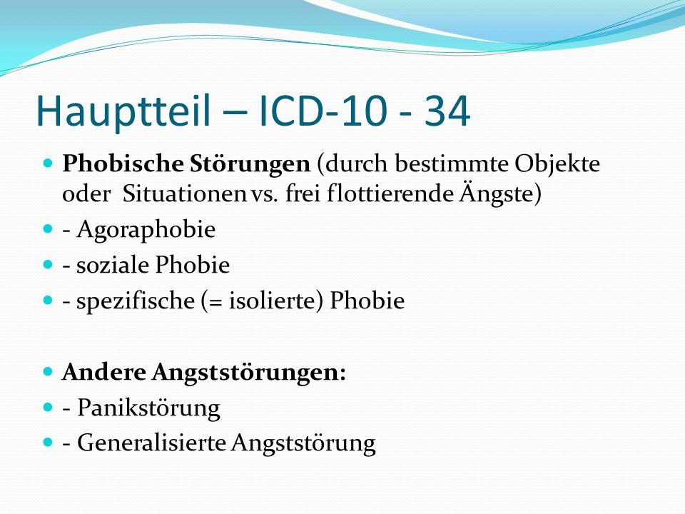Hauptteil – ICD-10 - 34 Phobische Störungen (durch bestimmte Objekte oder Situationen vs. frei flottierende Ängste) - Agoraphobie - soziale Phobie - s
