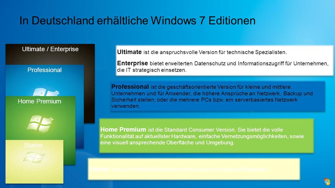 In Deutschland erhältliche Windows 7 Editionen Starter ist eine funktionalitätsbeschränkte Version für kleine Notebooks. Home Premium ist die Standard