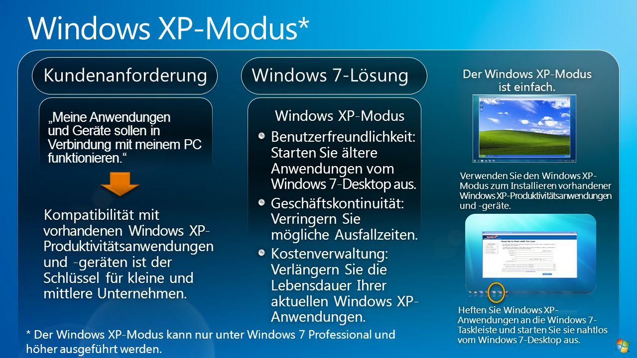 Windows 7-LösungKundenanforderung Windows XP-Modus Benutzerfreundlichkeit: Starten Sie ältere Anwendungen vom Windows 7-Desktop aus. Geschäftskontinui