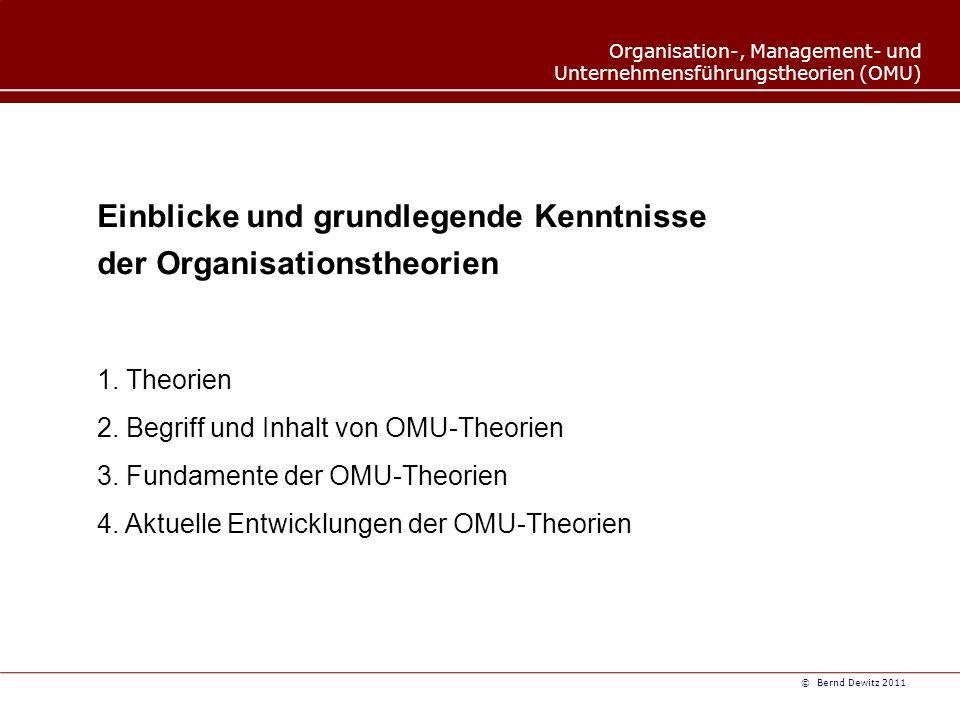 Organisation-, Management- und Unternehmensführungstheorien (OMU) © Bernd Dewitz 2011 Einblicke und grundlegende Kenntnisse der Organisationstheorien 1.