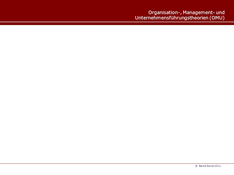 Organisation-, Management- und Unternehmensführungstheorien (OMU) © Bernd Dewitz 2011