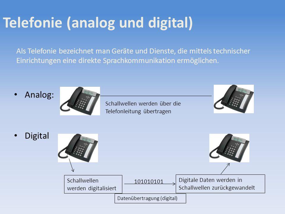 Telefonie (analog und digital) Analog: Digital Schallwellen werden über die Telefonleitung übertragen Schallwellen werden digitalisiert Digitale Daten