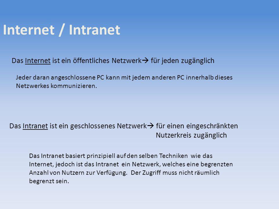 Internet / Intranet Das Internet ist ein öffentliches Netzwerk für jeden zugänglich Das Intranet ist ein geschlossenes Netzwerk für einen eingeschränk