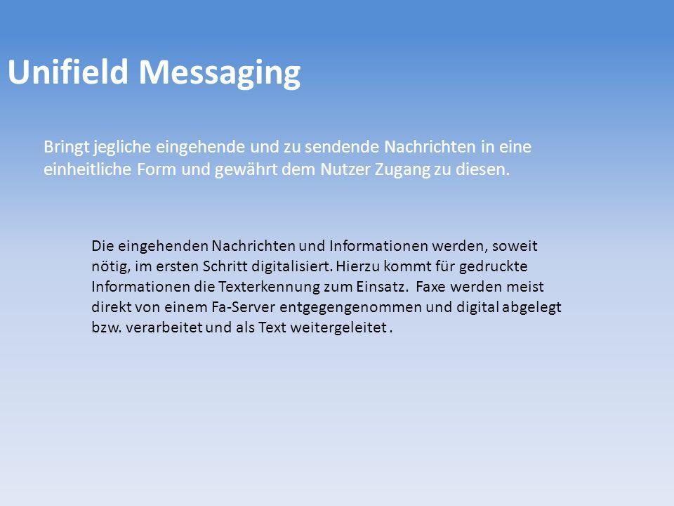 Unifield Messaging Bringt jegliche eingehende und zu sendende Nachrichten in eine einheitliche Form und gewährt dem Nutzer Zugang zu diesen. Die einge