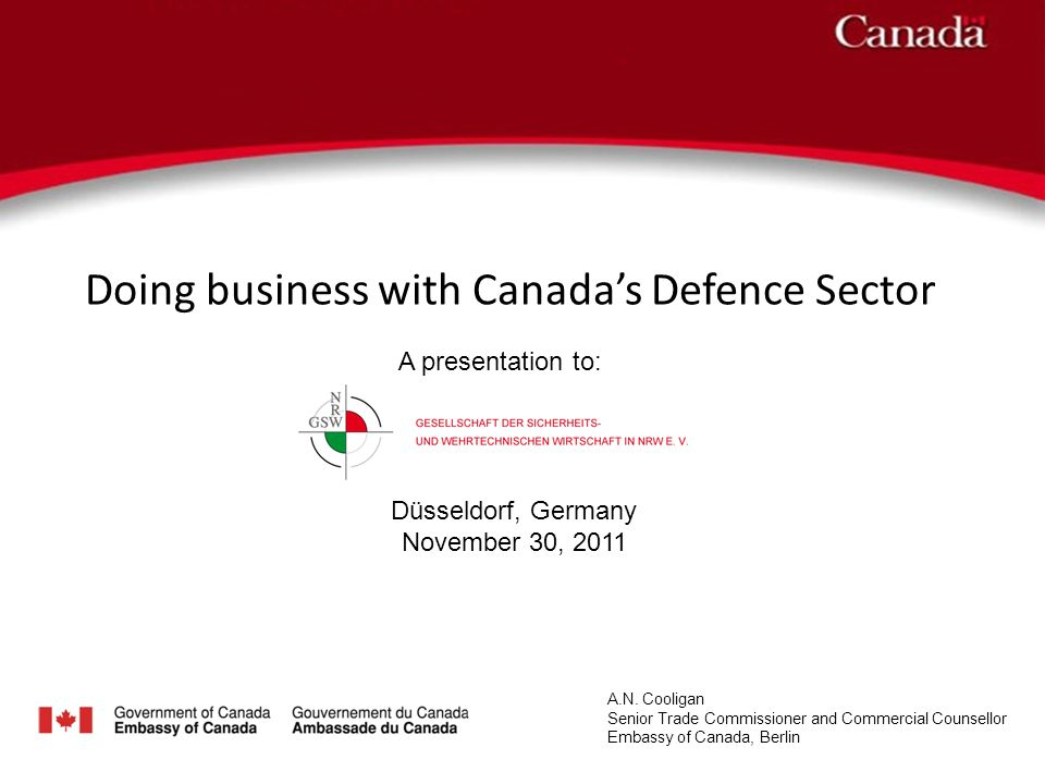 Doing business with Canadas Defence Sector A.N.