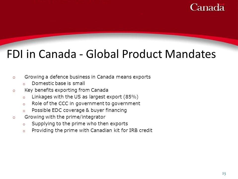 FDI in Canada - Global Product Mandates 25