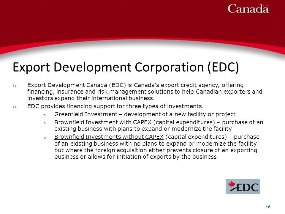 Export Development Corporation (EDC) 26