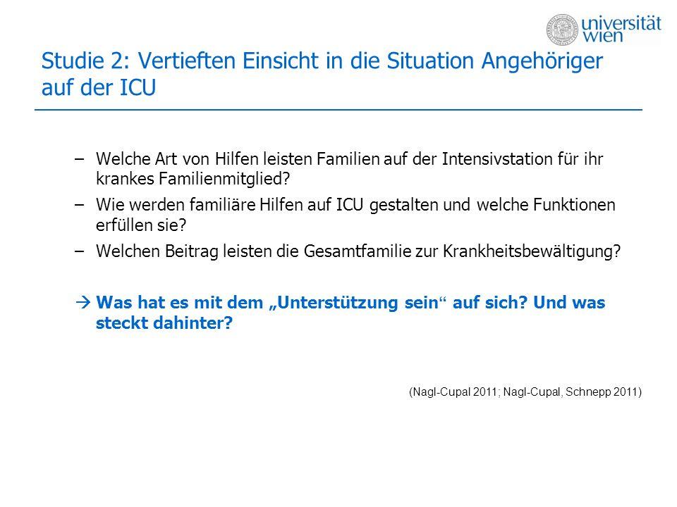 Studie 2: Vertieften Einsicht in die Situation Angehöriger auf der ICU –Welche Art von Hilfen leisten Familien auf der Intensivstation für ihr krankes