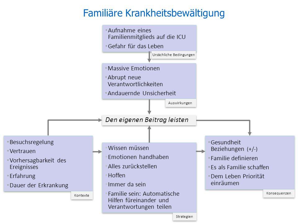 Den eigenen Beitrag leisten Aufnahme eines Familienmitglieds auf die ICU Gefahr für das Leben Aufnahme eines Familienmitglieds auf die ICU Gefahr für