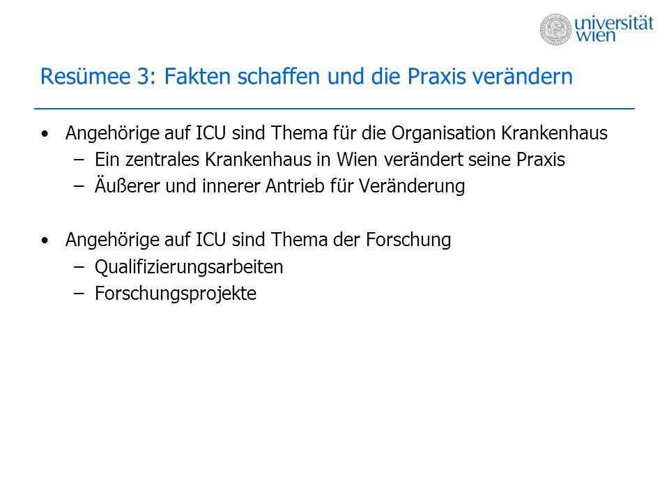 Resümee 3: Fakten schaffen und die Praxis verändern Angehörige auf ICU sind Thema für die Organisation Krankenhaus –Ein zentrales Krankenhaus in Wien