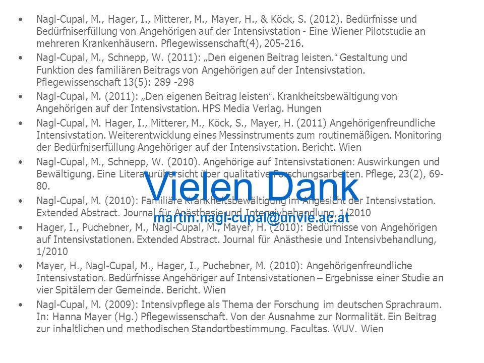 Nagl-Cupal, M., Hager, I., Mitterer, M., Mayer, H., & Köck, S. (2012). Bedürfnisse und Bedürfniserfüllung von Angehörigen auf der Intensivstation - Ei