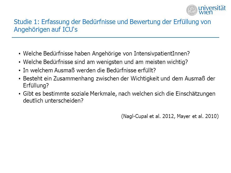 Studie 1: Erfassung der Bedürfnisse und Bewertung der Erfüllung von Angehörigen auf ICUs Welche Bedürfnisse haben Angehörige von IntensivpatientInnen?