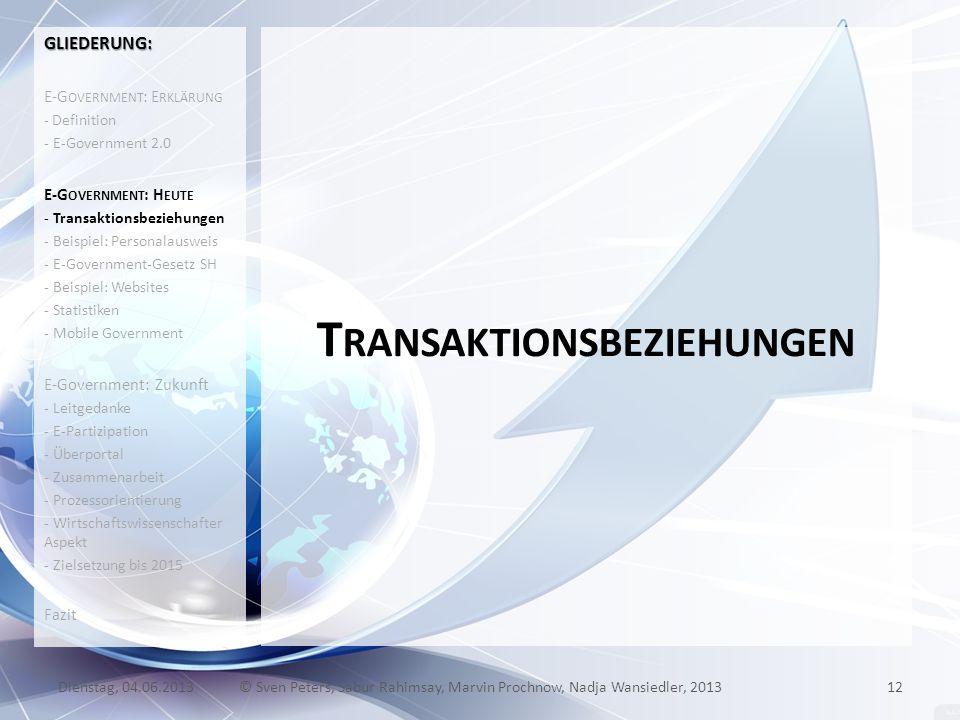 T RANSAKTIONSBEZIEHUNGEN 12© Sven Peters, Sabur Rahimsay, Marvin Prochnow, Nadja Wansiedler, 2013Dienstag, 04.06.2013 GLIEDERUNG: E-G OVERNMENT : E RK