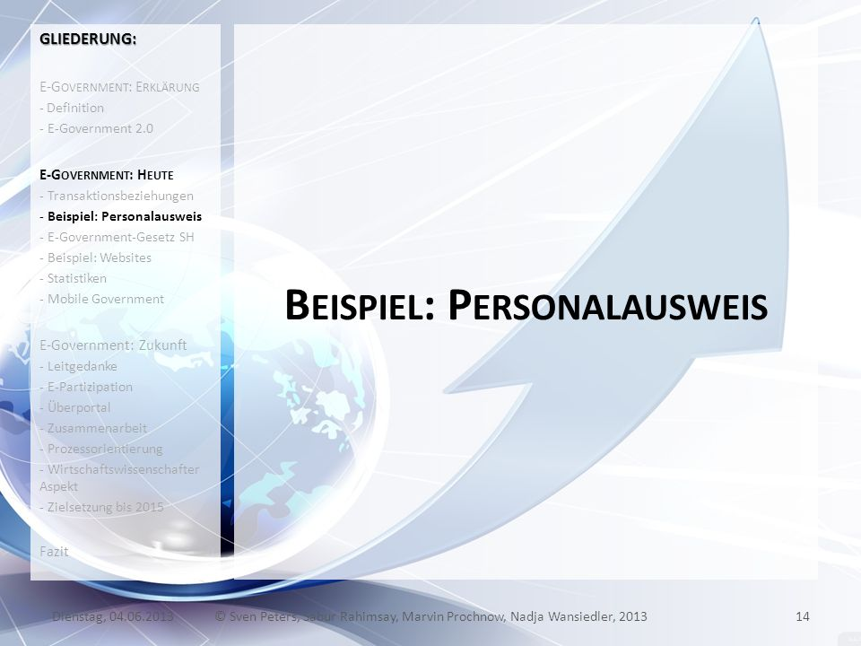 B EISPIEL : P ERSONALAUSWEIS 14© Sven Peters, Sabur Rahimsay, Marvin Prochnow, Nadja Wansiedler, 2013Dienstag, 04.06.2013 GLIEDERUNG: E-G OVERNMENT :