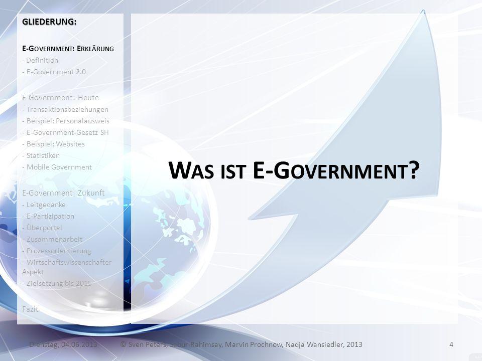 W AS IST E-G OVERNMENT ? GLIEDERUNG: E-G OVERNMENT : E RKLÄRUNG - Definition - E-Government 2.0 E-Government: Heute - Transaktionsbeziehungen - Beispi