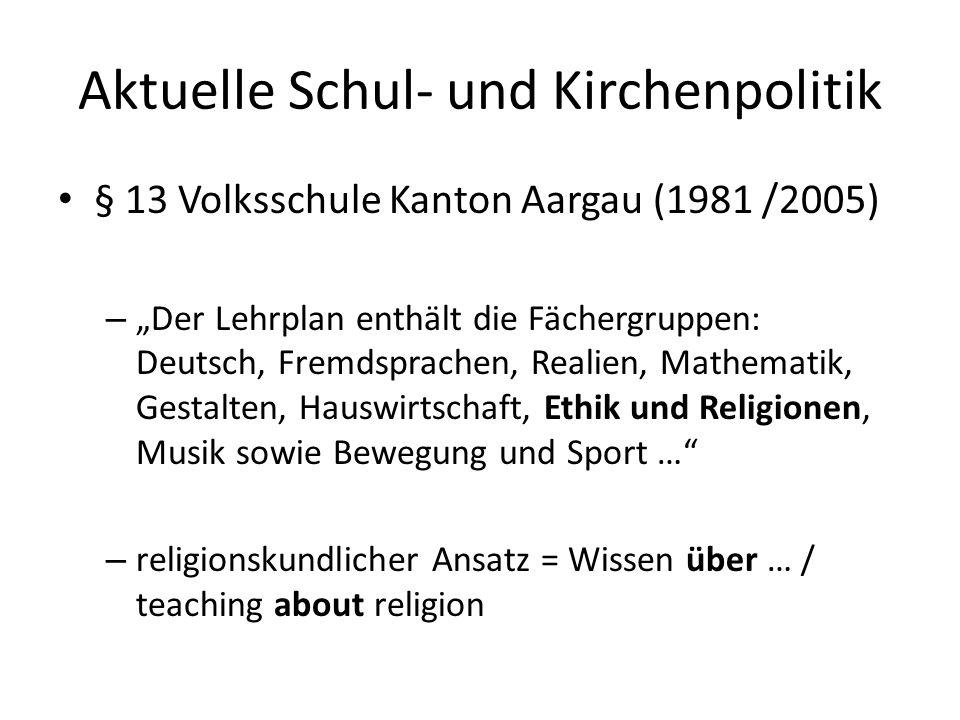 § 72 Volksschule Kanton Aargau (1981 / 2005) – Zur Erteilung des kirchlichen Religionsunterrichtes sind den öffentlich-rechtlich anerkannten Religionsgemeinschaften für zwei Wochenstunden pro Abteilung innerhalb der Unterrichtszeit unentgeltlich geeignete Schulräume zur Verfügung zu stellen.