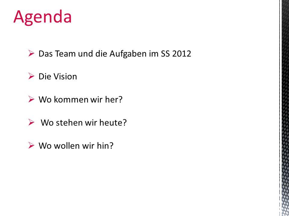 Agenda Das Team und die Aufgaben im SS 2012 Die Vision Wo kommen wir her? Wo stehen wir heute? Wo wollen wir hin?