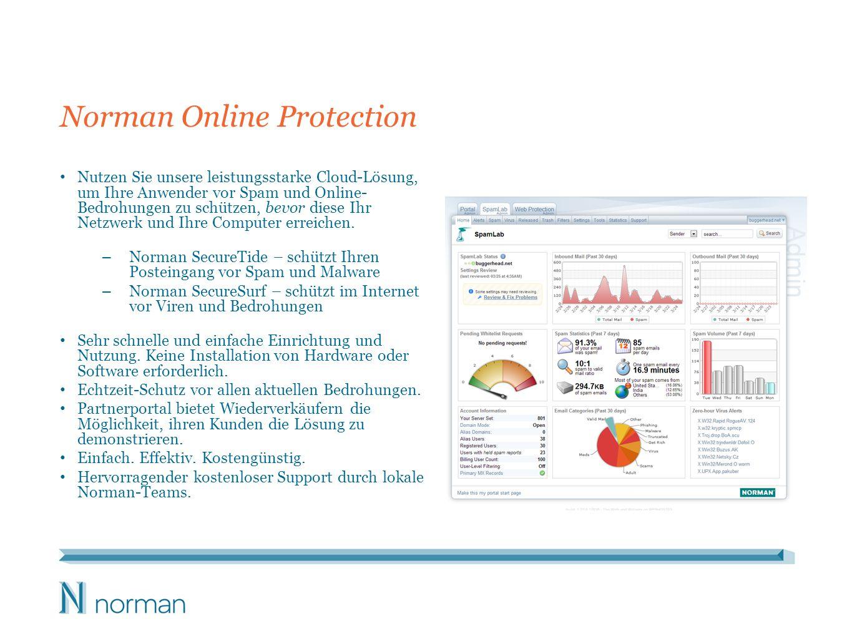 Norman Online Protection Nutzen Sie unsere leistungsstarke Cloud-Lösung, um Ihre Anwender vor Spam und Online- Bedrohungen zu schützen, bevor diese Ih