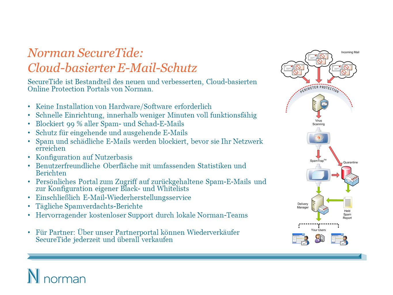 Norman SecureTide: Cloud-basierter E-Mail-Schutz SecureTide ist Bestandteil des neuen und verbesserten, Cloud-basierten Online Protection Portals von