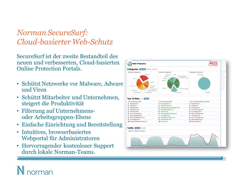 Norman SecureSurf: Cloud-basierter Web-Schutz SecureSurf ist der zweite Bestandteil des neuen und verbesserten, Cloud-basierten Online Protection Port