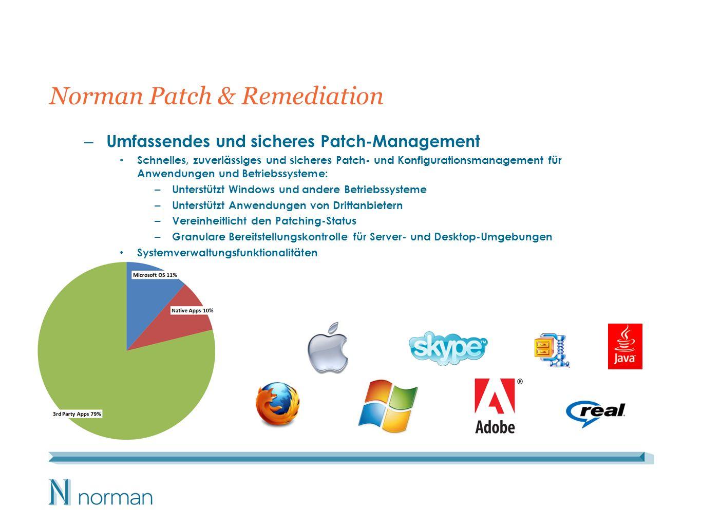 Mehr als bloßes Patching … Systemverwaltung: Bestände: – Software – Hardware – Dienste Softwareverteilung Remote Desktop Energiemanagement – Richtliniendefinition / -durchsetzung – Wake on LAN Konfigurationsdefinition / -durchsetzung – Deaktivierung der Auto-Updates von Drittanbietern, z.