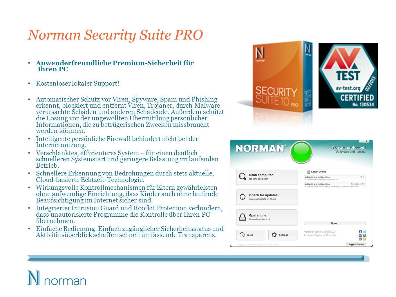 Norman Security Suite PRO Anwenderfreundliche Premium-Sicherheit für Ihren PC Kostenloser lokaler Support! Automatischer Schutz vor Viren, Spyware, Sp