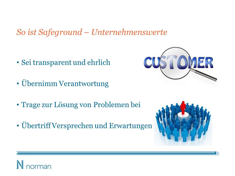 So ist Safeground – Unternehmenswerte Sei transparent und ehrlich Übernimm Verantwortung Trage zur Lösung von Problemen bei Übertriff Versprechen und