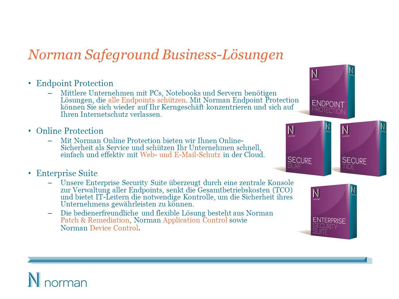 Norman Safeground Business-Lösungen Endpoint Protection – Mittlere Unternehmen mit PCs, Notebooks und Servern benötigen Lösungen, die alle Endpoints s