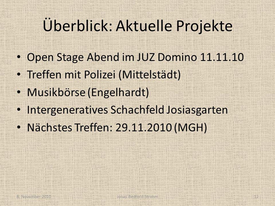 Überblick: Aktuelle Projekte Open Stage Abend im JUZ Domino 11.11.10 Treffen mit Polizei (Mittelstädt) Musikbörse (Engelhardt) Intergeneratives Schach