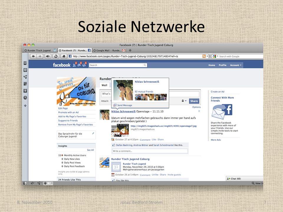 Soziale Netzwerke 8. November 2010Jonas Bedford-Strohm7