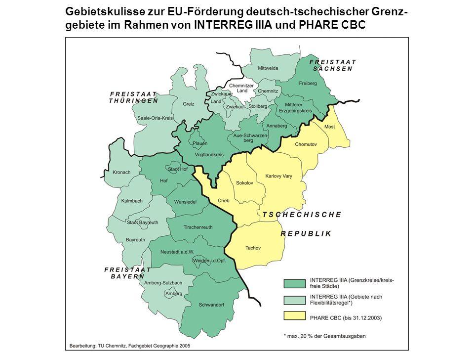 Gebietskulisse zur EU-Förderung deutsch-tschechischer Grenz- gebiete im Rahmen von INTERREG IIIA und PHARE CBC