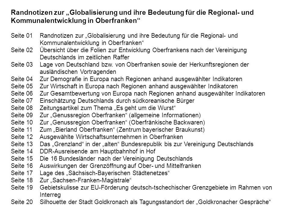 Randnotizen zur Globalisierung und ihre Bedeutung für die Regional- und Kommunalentwicklung in Oberfranken Seite 01Randnotizen zur Globalisierung und