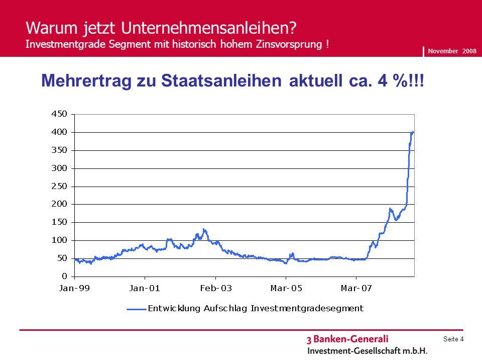 November 2008 Seite 4 Warum jetzt Unternehmensanleihen.