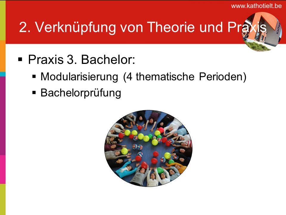 2. Verknüpfung von Theorie und Praxis Praxis 3. Bachelor: Modularisierung (4 thematische Perioden) Bachelorprüfung