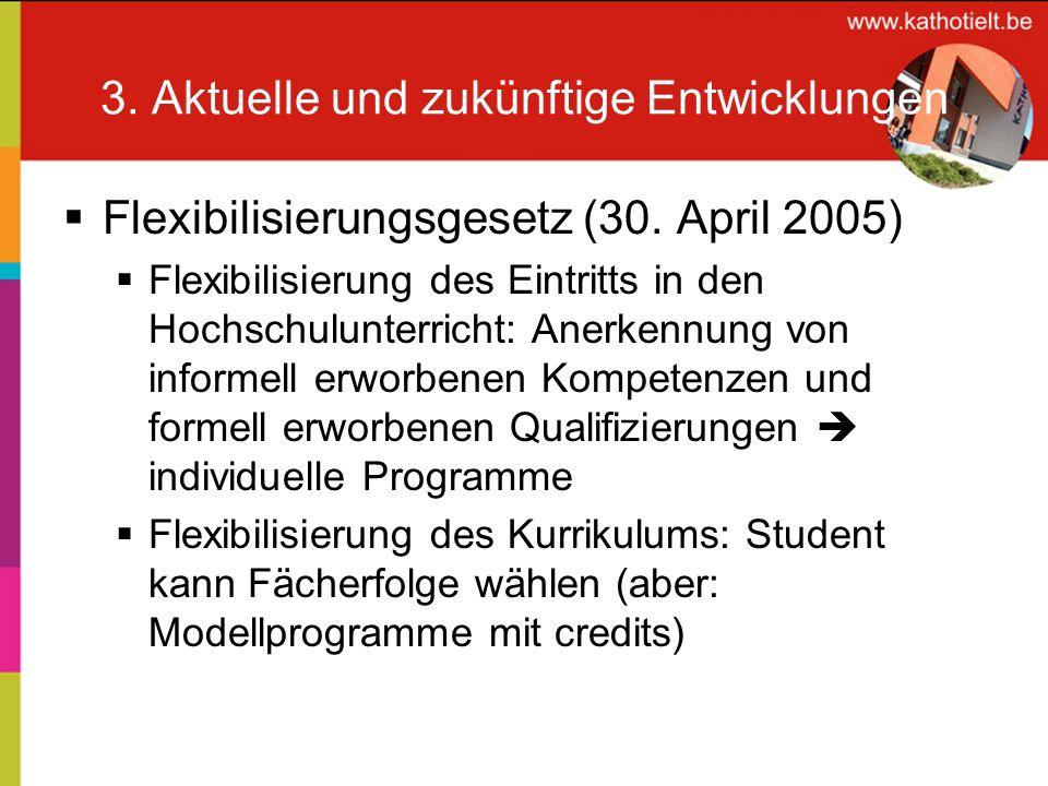 3. Aktuelle und zukünftige Entwicklungen Flexibilisierungsgesetz (30. April 2005) Flexibilisierung des Eintritts in den Hochschulunterricht: Anerkennu