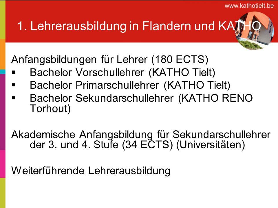 1. Lehrerausbildung in Flandern und KATHO Anfangsbildungen für Lehrer (180 ECTS) Bachelor Vorschullehrer (KATHO Tielt) Bachelor Primarschullehrer (KAT
