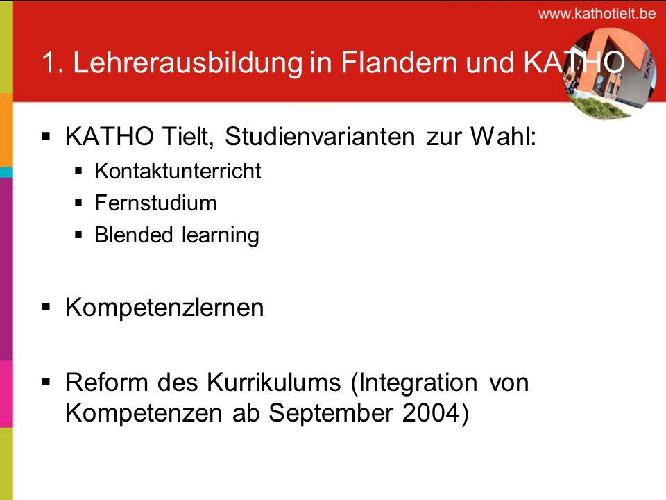 1. Lehrerausbildung in Flandern und KATHO KATHO Tielt, Studienvarianten zur Wahl: Kontaktunterricht Fernstudium Blended learning Kompetenzlernen Refor
